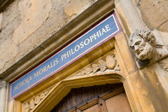 Sign over old door at Bodleian Library, Oxford, 'School of Moral Stock Photography