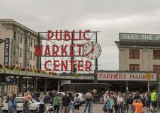 Sign over Pike Place Market, Seattle, Washington stock images