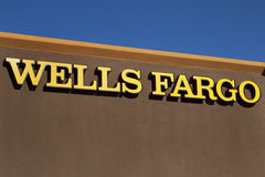 Sign Over Wells Fargo Banking Institution Royalty Free Stock Photos