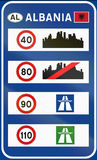 Sign with overview of speed limits in Albania Royalty Free Stock Images