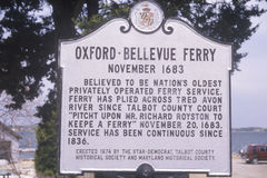 A sign for the Oxford-Bellevue Ferry Royalty Free Stock Photography