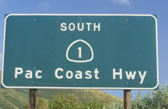 A sign for Pacific Coast Highway in California Royalty Free Stock Images