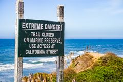 Sign on the Pacific Coast - Trail closure, California royalty free stock image