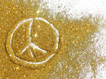Sign of pacific on golden glitter sparkles on white background Stock Images