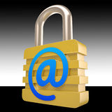 At Sign Padlock Shows Private Mail Secured Stock Photo