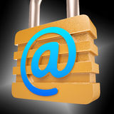 At Sign Padlock Shows Secure Internet Mail Stock Image