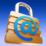 At Sign Padlock Shows Security Online Communication Royalty Free Stock Photo