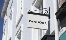 Sign for Pandora, High Street, Lincoln, Lincolnshire, UK stock images