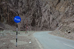 Sign panels on the mountain road in Leh, India Stock Images
