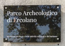 Sign for the Parco Archeologico di Ercolano. Pictured is a sign for the Parco Archeologico di Ercolano. The archaeological excavations of Herculaneum have Stock Photography