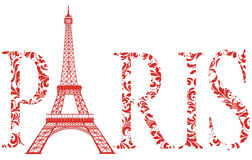 Sign Paris with eiffel tower vector illustration