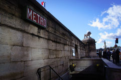 The sign of parisian metro on the wall Royalty Free Stock Photo