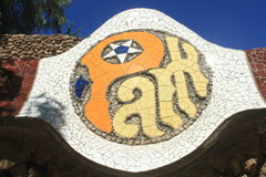 Sign of Park Guell in Barcelona Stock Photos