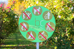 Sign on a park Stock Image