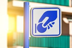 Sign for parking meter. At a town street Stock Images
