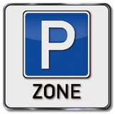 Sign parking zone. In the city Stock Photography