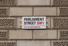 Sign for Parliament Street in Central London Stock Images