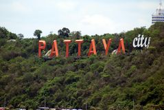Sign of Pattaya city in Thailand, Asia Stock Image