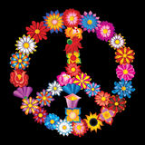Sign peace from flowers. Peace sign from different flowers - isolated on black background Royalty Free Stock Image
