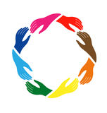 Hands on friendship logo. Hands in circle in holding action Royalty Free Stock Image