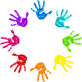The sign of peace and friendship - colorful palm. Set of colorful hand prints isolated on white background Royalty Free Stock Photos