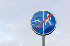 Sign for pedestrians and cyclists Stock Photography