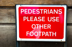 Sign for Pedestrians to use other footpath Royalty Free Stock Images