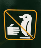 Sign of penguin crossing do not touch Royalty Free Stock Images