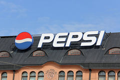 Sign Pepsi in Central Helsinki, Finland Royalty Free Stock Image