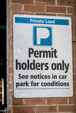 Sign, Permit Holders Only. Outside private car park. UK Stock Images