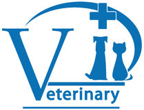 Dog, cat on veterinary medicine symbol. Sign with pet - dog, cat on veterinary medicine symbol Royalty Free Stock Images