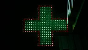 Sign of pharmacy sign at night. Sign of pharmacy sign at night stock video footage