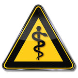 Sign physician, aesculapius and snake. Yellow sign physician, aesculapius and snake Stock Image