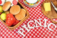 Sign Picnic On Table With Lunch In Basket, Top View Royalty Free Stock Photo