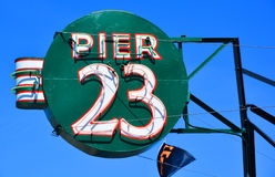 Sign of the Pier 23 Cafe. SAN FRANCISCO CA USA APRIL 14 2015: Sign of the Pier 23 Cafe is a time honored San Francisco establishment located right on the SF bay Stock Photo