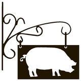 Sign pig farm specialization Stock Photo
