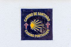 Sign of the pilgrimage route  the Camino Portugues. Emblem of the pilgrimage route  the Camino Portugues - The Way of Saint James El Camino de Santiago Royalty Free Stock Image