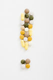 !. '!' sign from pills (different type, color and fromed Royalty Free Stock Photography
