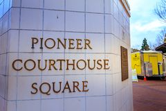 Sign of Pioneer Courthouse Square at winter season. Portland, Oregon, United States - Dec 19, 2017: Sign of Pioneer Courthouse Square at winter season Royalty Free Stock Photo