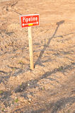Sign pipeline on the construction ground Royalty Free Stock Photography