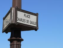 Sign - Place Charles de Gaulle Royalty Free Stock Photos