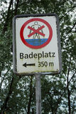 Sign of place for swiming on the lake Stock Photo