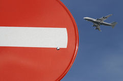 Sign and Plane Stock Photos