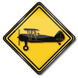 Sign plane and biplane. Sign plane, biplane and flight school Royalty Free Stock Photography