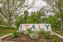 Sign and Plants for Italy Royalty Free Stock Images