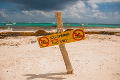 The sign plate is not for swimming,only for boats. A lot of algae, debris and mud on the beach. Terrible beach after the rains in. Mexico. Tulum, Yucatan Stock Photo