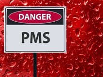 Sign PMS and red blood drop on the glass. royalty free stock photo