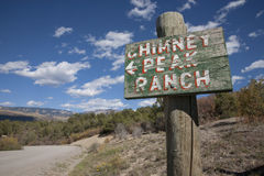 Sign pointing to Chimney Peak Ranch, Royalty Free Stock Images