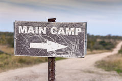 Sign pointing to main camp. Kruger National Park, South Africa stock photography