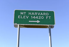 Sign Pointing to Mount Harvard, Colorado 14er in the Rocky Mountains Stock Photo
